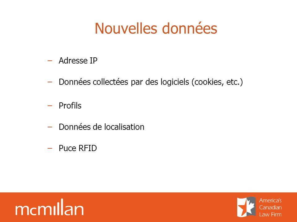 Nouvelles données –Adresse IP –Données collectées par des logiciels (cookies, etc.) –Profils –Données de localisation –Puce RFID