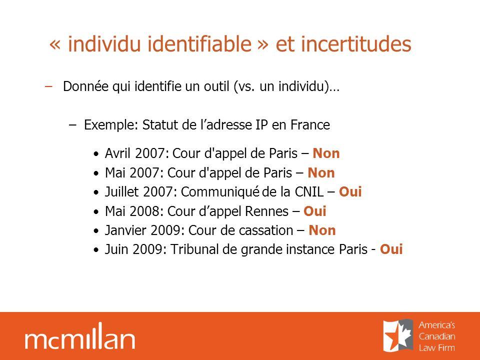 « individu identifiable » et incertitudes –Donnée qui identifie un outil (vs. un individu)… –Exemple: Statut de ladresse IP en France Avril 2007: Cour