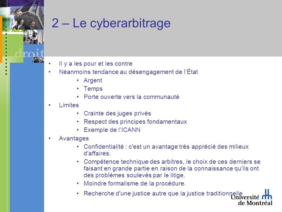 2 – Le cyberarbitrage Il y a les pour et les contre Néanmoins tendance au désengagement de lÉtat Argent Temps Porte ouverte vers la communauté Limites
