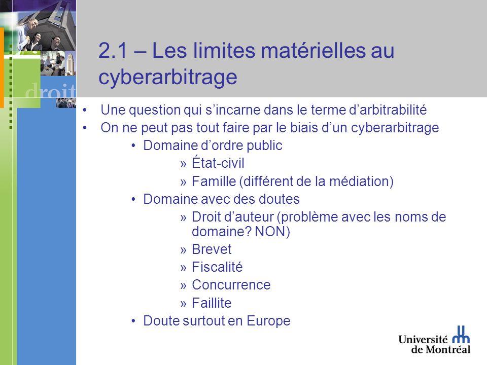 2.1 – Les limites matérielles au cyberarbitrage Une question qui sincarne dans le terme darbitrabilité On ne peut pas tout faire par le biais dun cybe