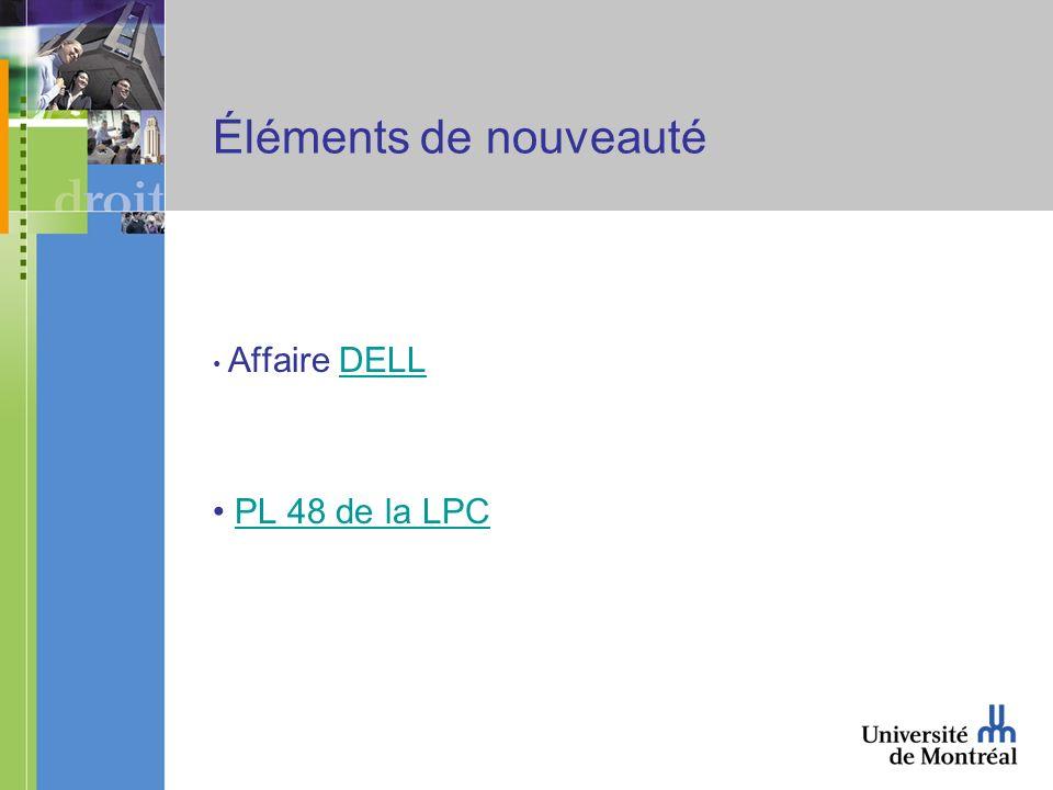 Éléments de nouveauté Affaire DELLDELL PL 48 de la LPC