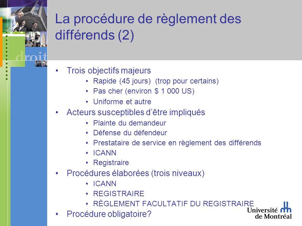 La procédure de règlement des différends (2) Trois objectifs majeurs Rapide (45 jours) (trop pour certains) Pas cher (environ $ 1 000 US) Uniforme et