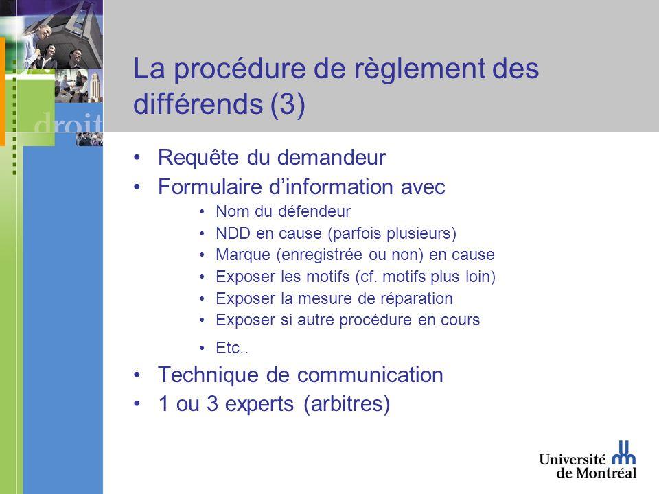 La procédure de règlement des différends (3) Requête du demandeur Formulaire dinformation avec Nom du défendeur NDD en cause (parfois plusieurs) Marque (enregistrée ou non) en cause Exposer les motifs (cf.