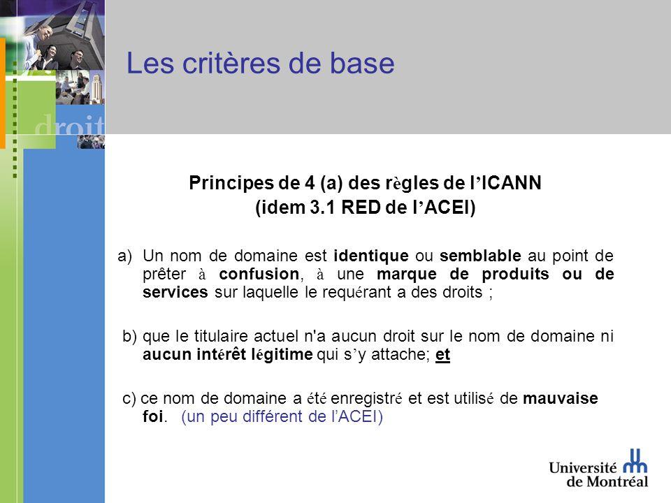 Les critères de base Principes de 4 (a) des r è gles de l ICANN (idem 3.1 RED de l ACEI) a)Un nom de domaine est identique ou semblable au point de prêter à confusion, à une marque de produits ou de services sur laquelle le requ é rant a des droits ; b) que le titulaire actuel n a aucun droit sur le nom de domaine ni aucun int é rêt l é gitime qui s y attache; et c) ce nom de domaine a é t é enregistr é et est utilis é de mauvaise foi.