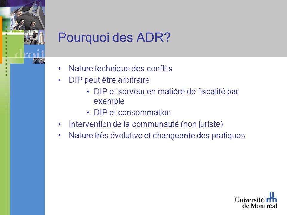 Pourquoi des ADR? Nature technique des conflits DIP peut être arbitraire DIP et serveur en matière de fiscalité par exemple DIP et consommation Interv