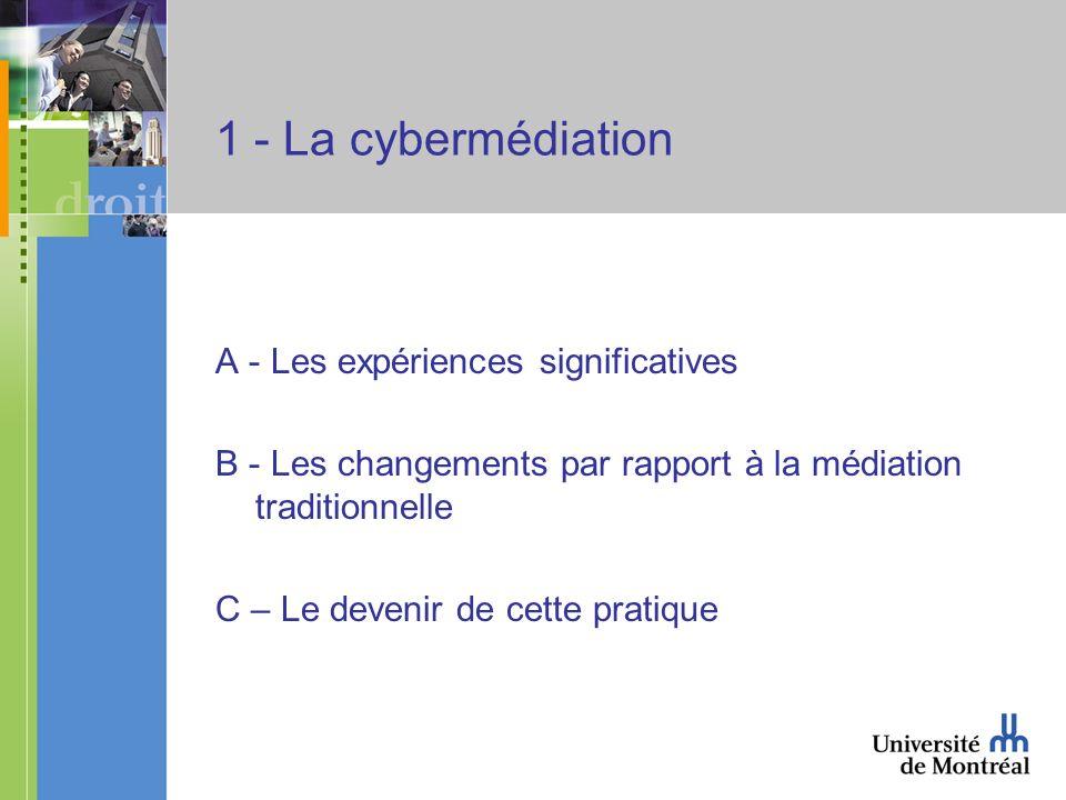 1 - La cybermédiation A - Les expériences significatives B - Les changements par rapport à la médiation traditionnelle C – Le devenir de cette pratiqu