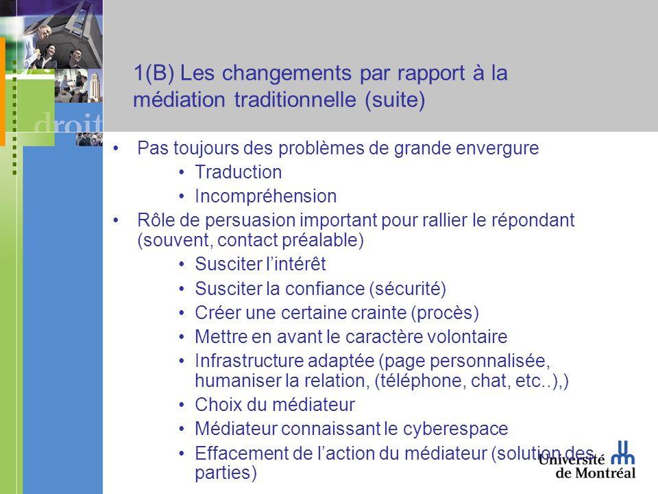 1(B) Les changements par rapport à la médiation traditionnelle (suite) Pas toujours des problèmes de grande envergure Traduction Incompréhension Rôle