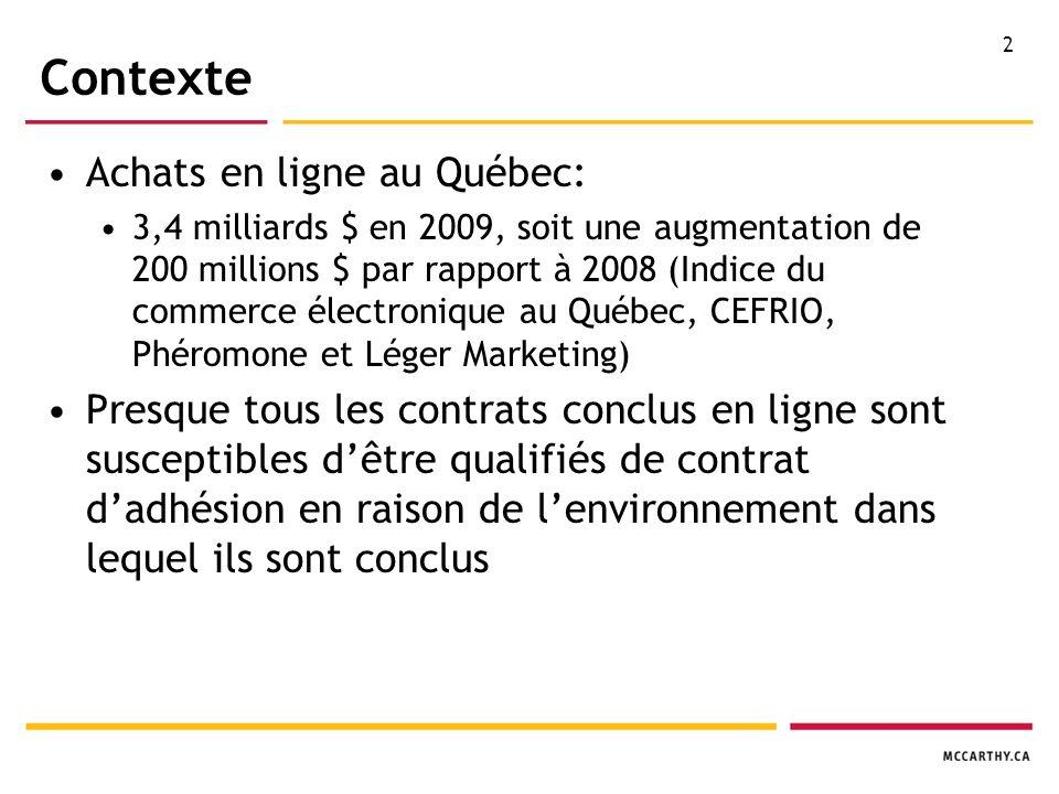2 Contexte Achats en ligne au Québec: 3,4 milliards $ en 2009, soit une augmentation de 200 millions $ par rapport à 2008 (Indice du commerce électronique au Québec, CEFRIO, Phéromone et Léger Marketing) Presque tous les contrats conclus en ligne sont susceptibles dêtre qualifiés de contrat dadhésion en raison de lenvironnement dans lequel ils sont conclus