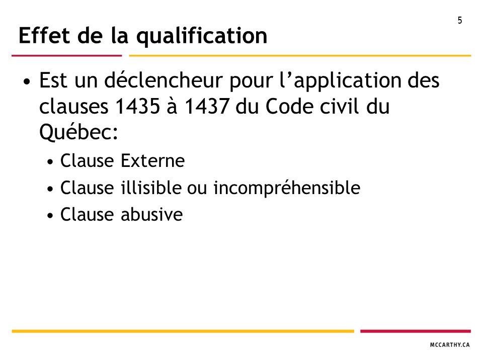 5 Effet de la qualification Est un déclencheur pour lapplication des clauses 1435 à 1437 du Code civil du Québec: Clause Externe Clause illisible ou incompréhensible Clause abusive