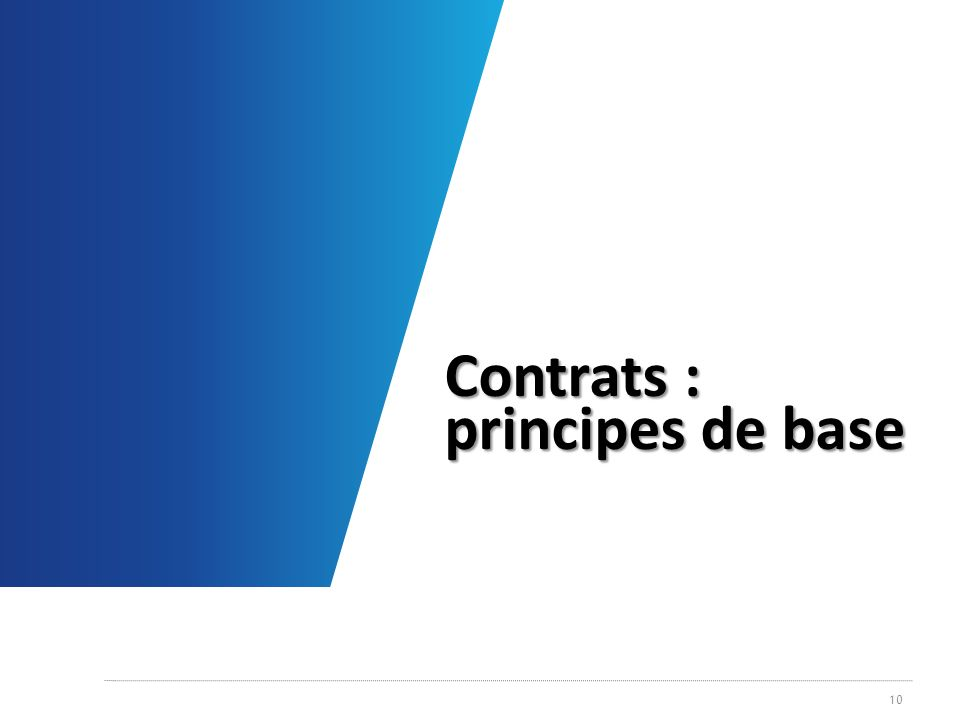 Contrats : principes de base 10