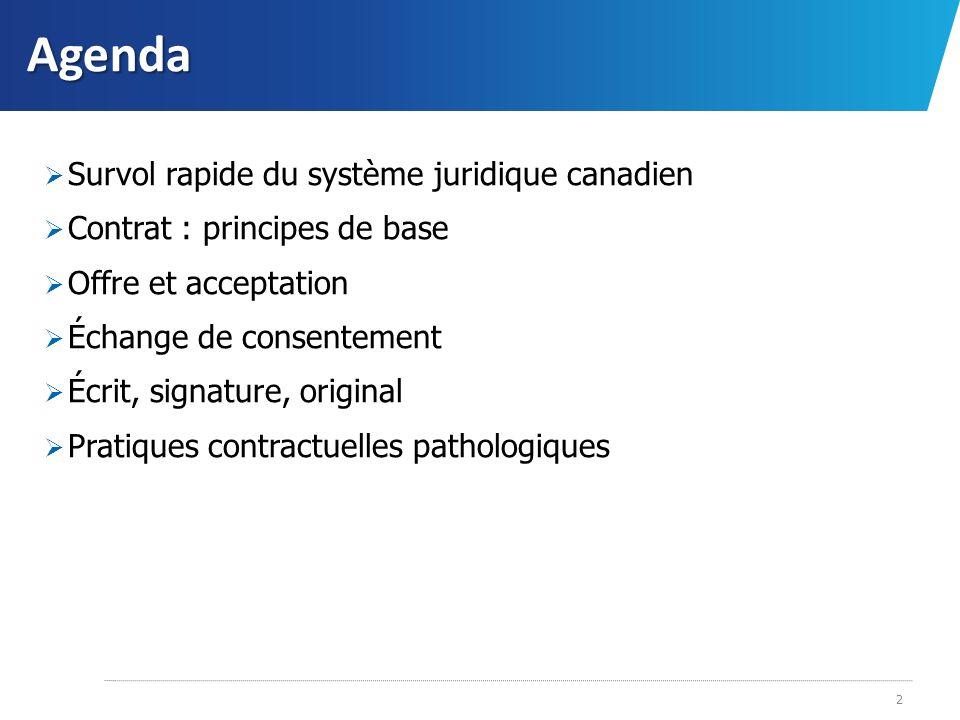 Agenda Survol rapide du système juridique canadien Contrat : principes de base Offre et acceptation Échange de consentement Écrit, signature, original
