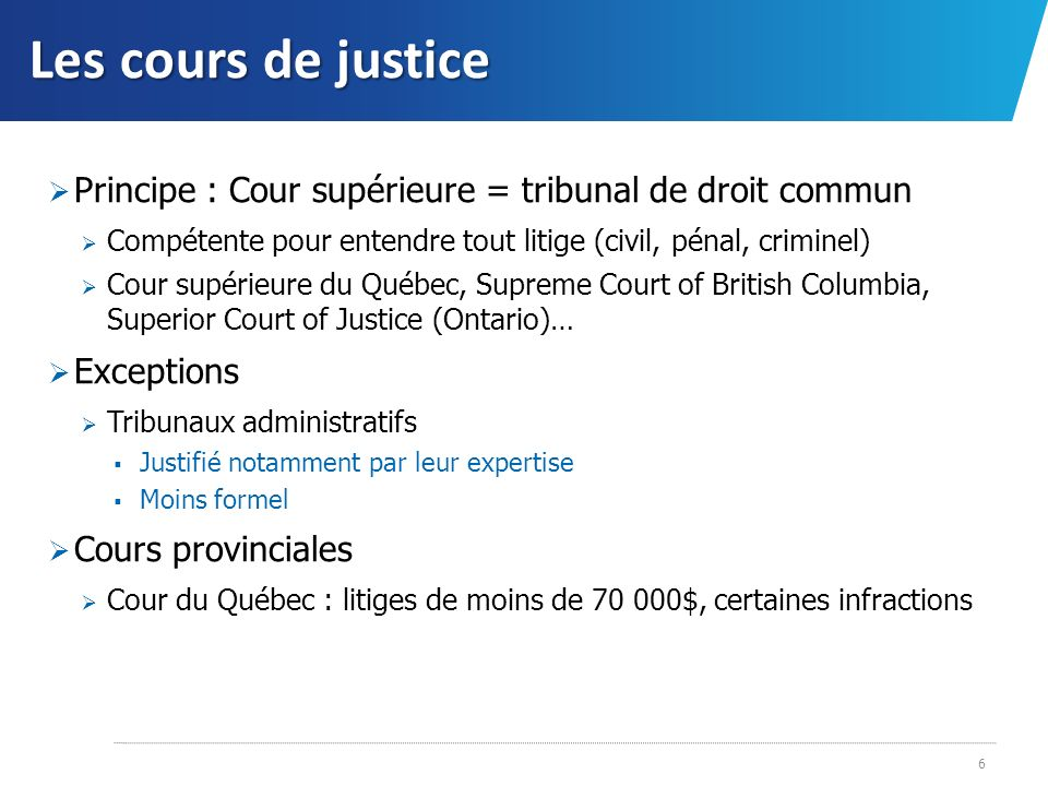 Les cours de justice Appel Sur autorisation seulement (« appels sur permission ») Quelques exceptions (« appels de plein droit ») En droit criminel : question de droit uniquement, dissidence dun juge de la Cour dappel (pour appel à la Cour suprême) Effet du jugement dappel Lie les cours inférieures Exemple de cheminement dun litige Cour supérieure Cour dappel Cour suprême du Canada Tribunal administratif du Québec Cour supérieure (pouvoir de surveillance) CA CSC Mieux : CS (jugement interlocutoire) CA CSC ; retour à la CS pour jugement au fond CA CSC 7