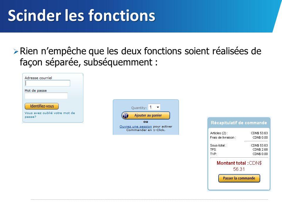 Scinder les fonctions Rien nempêche que les deux fonctions soient réalisées de façon séparée, subséquemment :