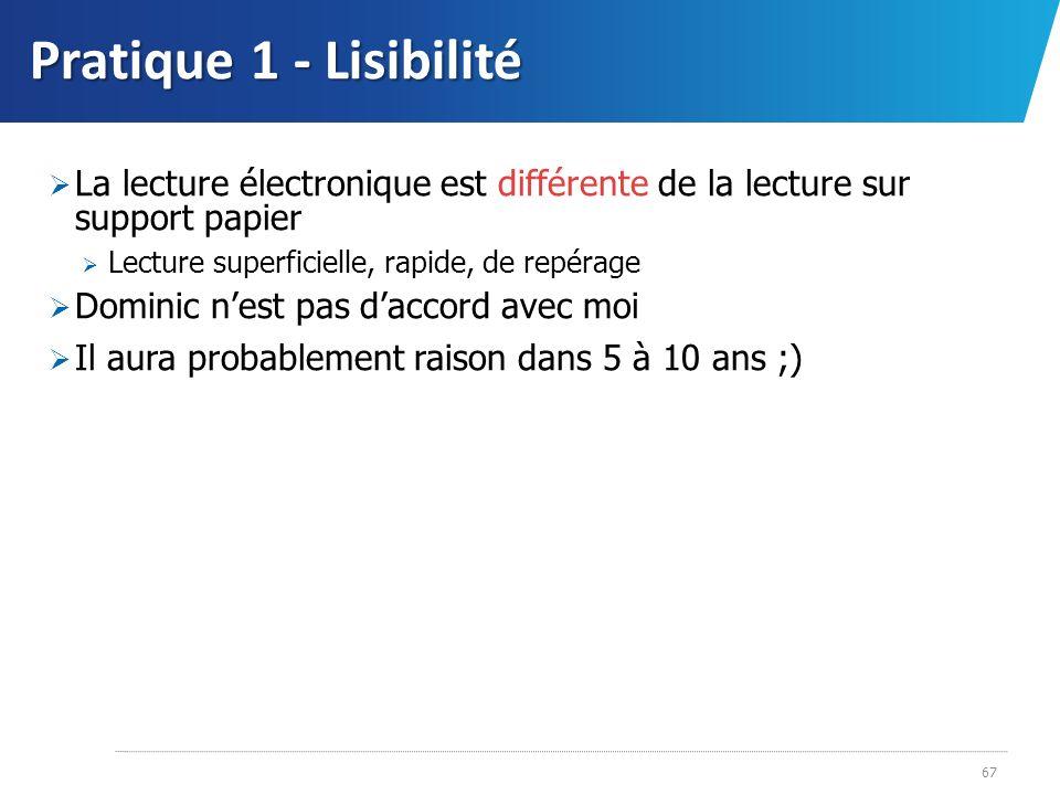 Pratique 1 - Lisibilité 67 La lecture électronique est différente de la lecture sur support papier Lecture superficielle, rapide, de repérage Dominic