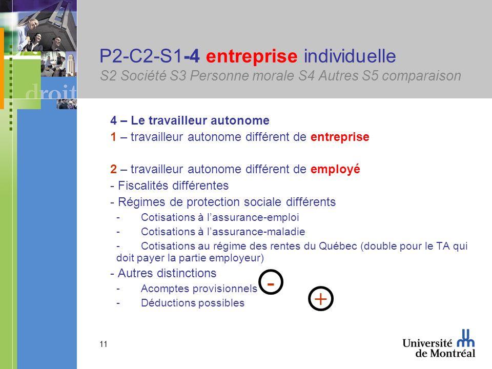 11 P2-C2-S1-4 entreprise individuelle S2 Société S3 Personne morale S4 Autres S5 comparaison 4 – Le travailleur autonome 1 – travailleur autonome diff