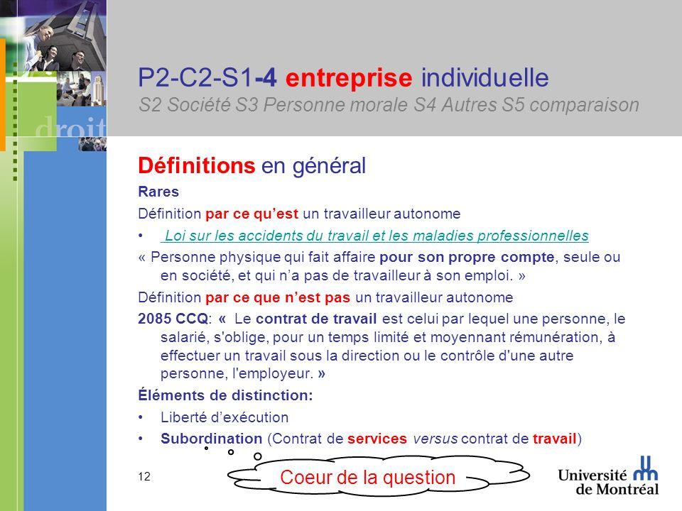 12 P2-C2-S1-4 entreprise individuelle S2 Société S3 Personne morale S4 Autres S5 comparaison Définitions en général Rares Définition par ce quest un t