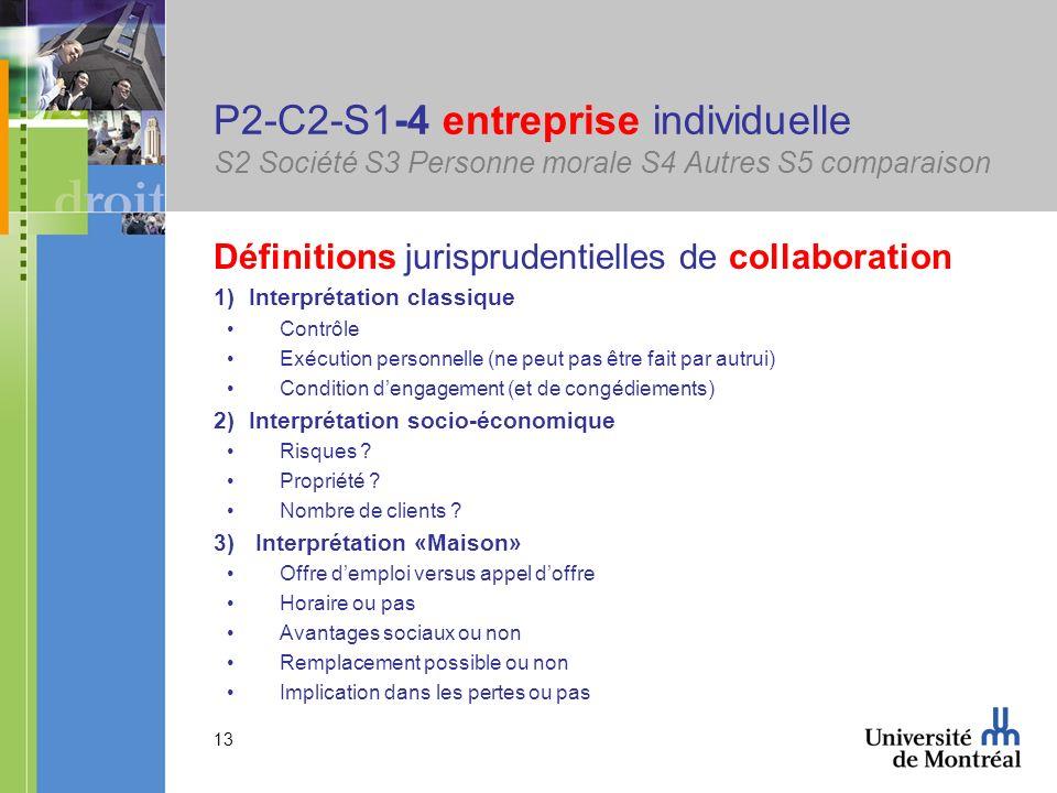 13 P2-C2-S1-4 entreprise individuelle S2 Société S3 Personne morale S4 Autres S5 comparaison Définitions jurisprudentielles de collaboration 1)Interpr
