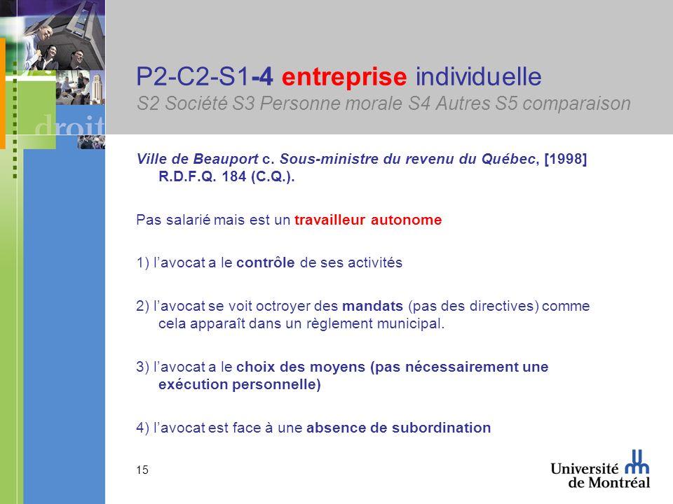 15 P2-C2-S1-4 entreprise individuelle S2 Société S3 Personne morale S4 Autres S5 comparaison Ville de Beauport c. Sous-ministre du revenu du Québec, [