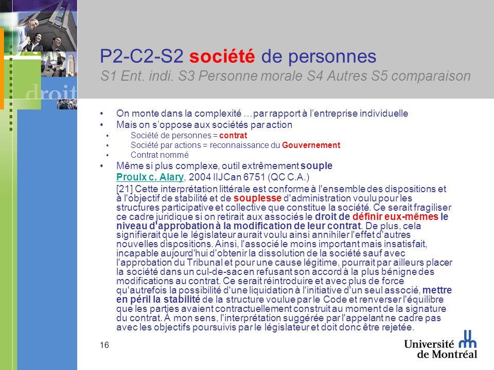 16 P2-C2-S2 société de personnes S1 Ent. indi. S3 Personne morale S4 Autres S5 comparaison On monte dans la complexité …par rapport à lentreprise indi