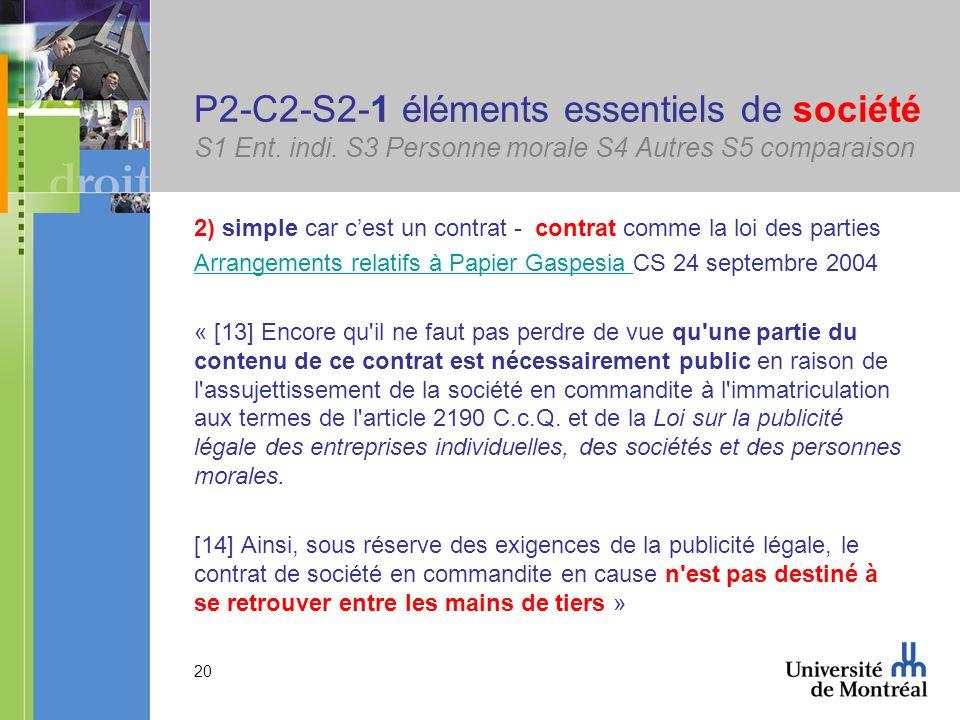 20 P2-C2-S2-1 éléments essentiels de société S1 Ent. indi. S3 Personne morale S4 Autres S5 comparaison 2) simple car cest un contrat - contrat comme l