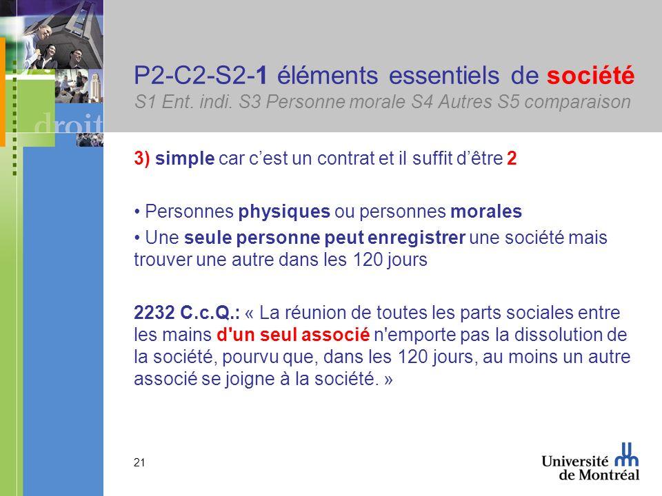 21 P2-C2-S2-1 éléments essentiels de société S1 Ent. indi. S3 Personne morale S4 Autres S5 comparaison 3) simple car cest un contrat et il suffit dêtr