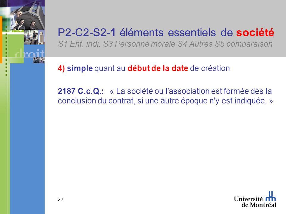 22 P2-C2-S2-1 éléments essentiels de société S1 Ent. indi. S3 Personne morale S4 Autres S5 comparaison 4) simple quant au début de la date de création