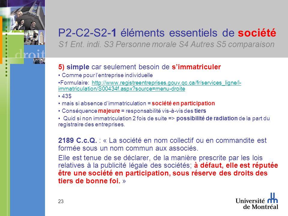 23 P2-C2-S2-1 éléments essentiels de société S1 Ent. indi. S3 Personne morale S4 Autres S5 comparaison 5) simple car seulement besoin de simmatriculer