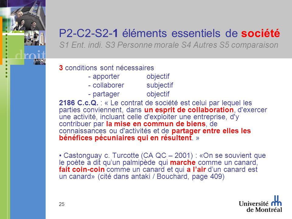 25 P2-C2-S2-1 éléments essentiels de société S1 Ent. indi. S3 Personne morale S4 Autres S5 comparaison 3 conditions sont nécessaires - apporterobjecti