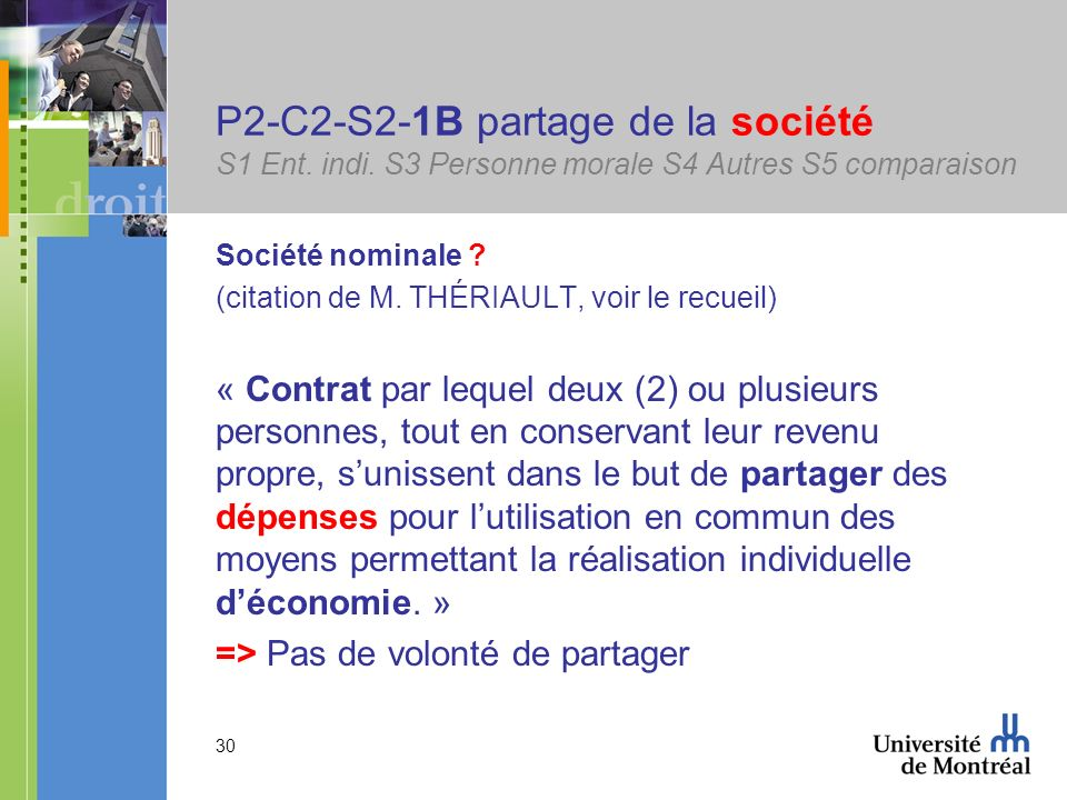 30 P2-C2-S2-1B partage de la société S1 Ent. indi. S3 Personne morale S4 Autres S5 comparaison Société nominale ? (citation de M. THÉRIAULT, voir le r