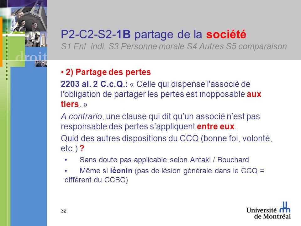 32 P2-C2-S2-1B partage de la société S1 Ent. indi. S3 Personne morale S4 Autres S5 comparaison 2) Partage des pertes 2203 al. 2 C.c.Q.: « Celle qui di