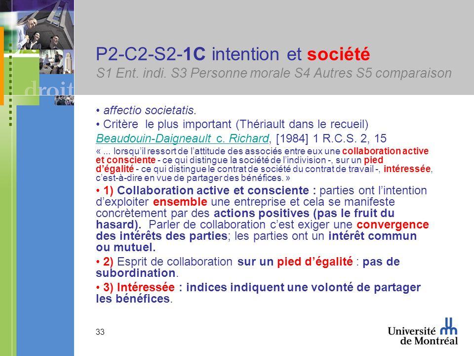 33 P2-C2-S2-1C intention et société S1 Ent. indi. S3 Personne morale S4 Autres S5 comparaison affectio societatis. Critère le plus important (Thériaul
