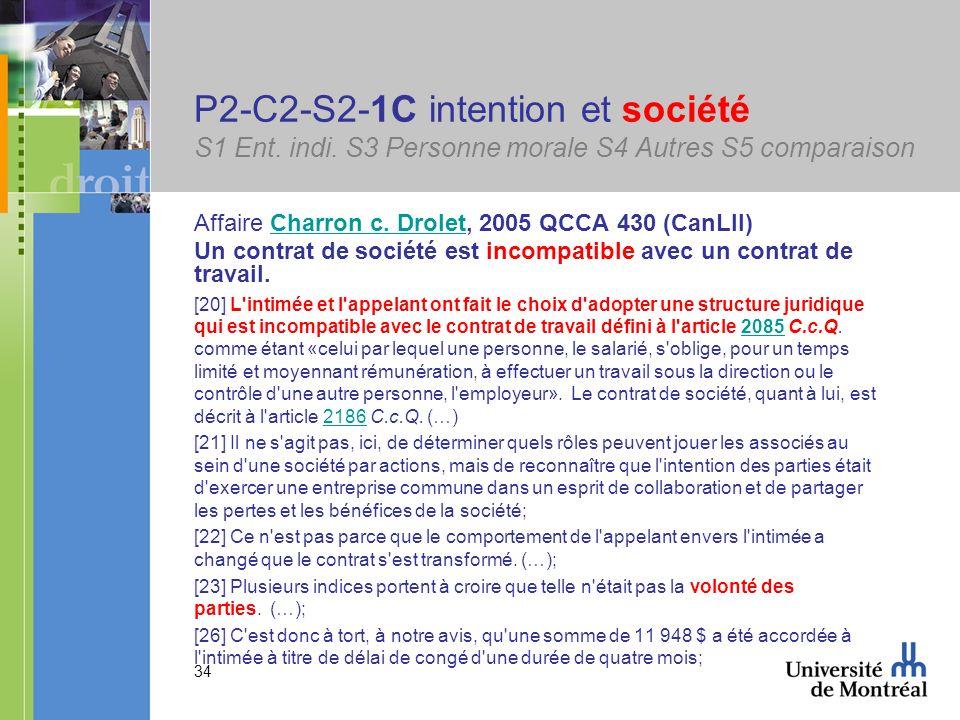 34 P2-C2-S2-1C intention et société S1 Ent. indi. S3 Personne morale S4 Autres S5 comparaison Affaire Charron c. Drolet, 2005 QCCA 430 (CanLII)Charron
