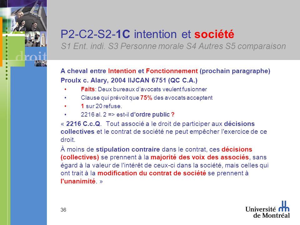 36 P2-C2-S2-1C intention et société S1 Ent. indi. S3 Personne morale S4 Autres S5 comparaison A cheval entre Intention et Fonctionnement (prochain par