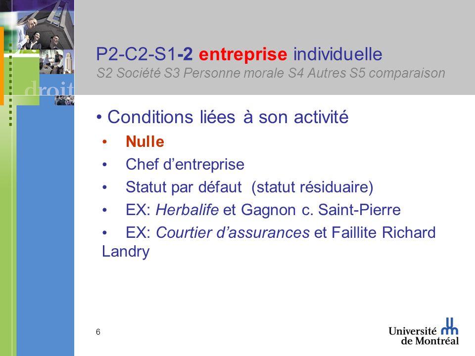 6 P2-C2-S1-2 entreprise individuelle S2 Société S3 Personne morale S4 Autres S5 comparaison Conditions liées à son activité Nulle Chef dentreprise Sta