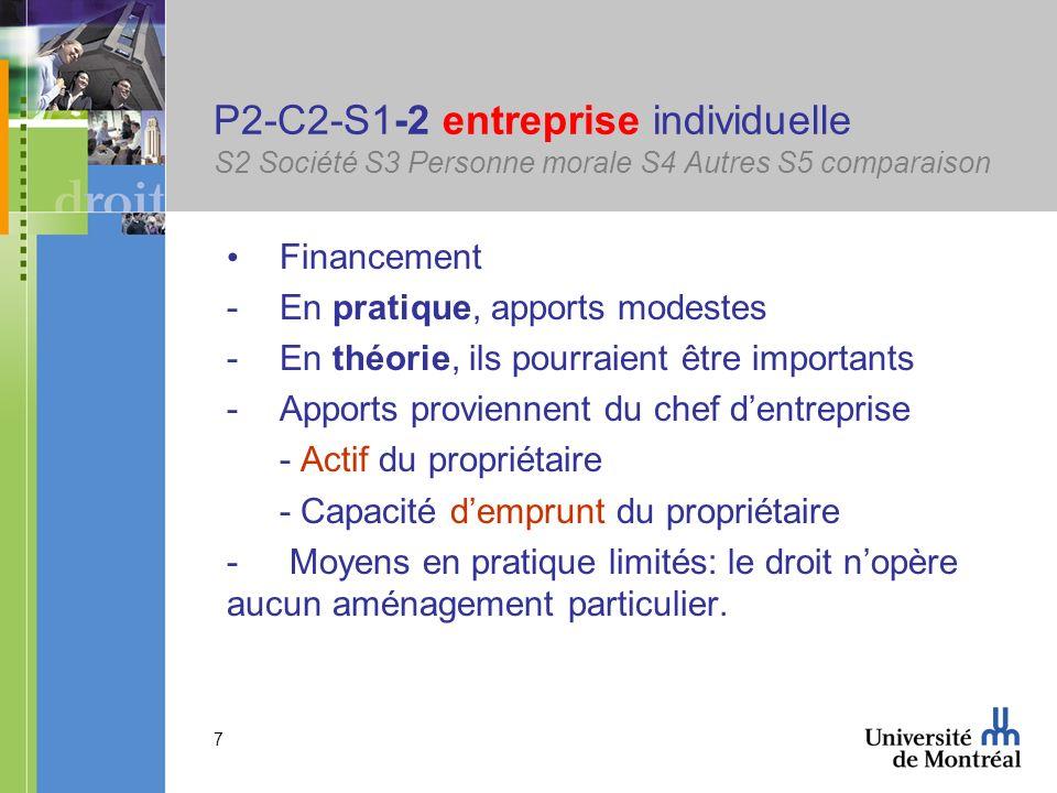 7 P2-C2-S1-2 entreprise individuelle S2 Société S3 Personne morale S4 Autres S5 comparaison Financement -En pratique, apports modestes -En théorie, il