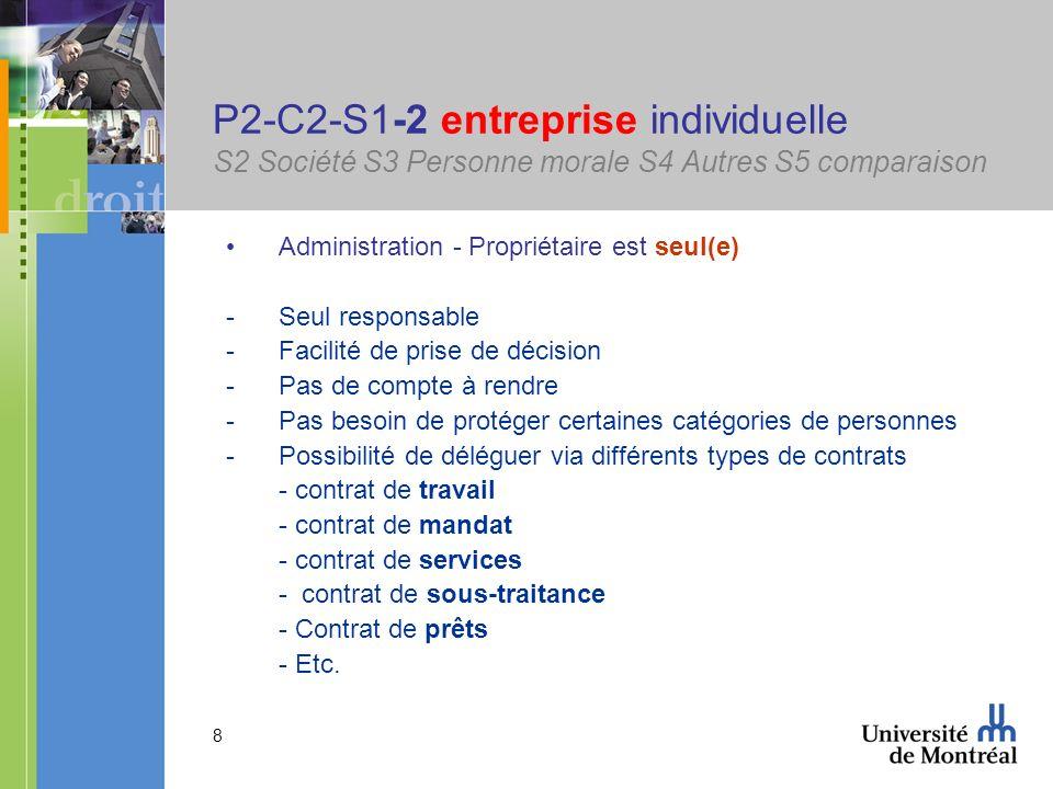 8 P2-C2-S1-2 entreprise individuelle S2 Société S3 Personne morale S4 Autres S5 comparaison Administration - Propriétaire est seul(e) -Seul responsabl