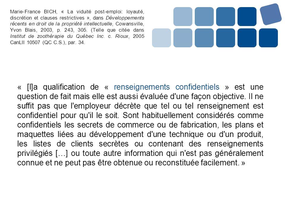 Marie-France BICH, « La viduité post-emploi: loyauté, discrétion et clauses restrictives », dans Développements récents en droit de la propriété intel
