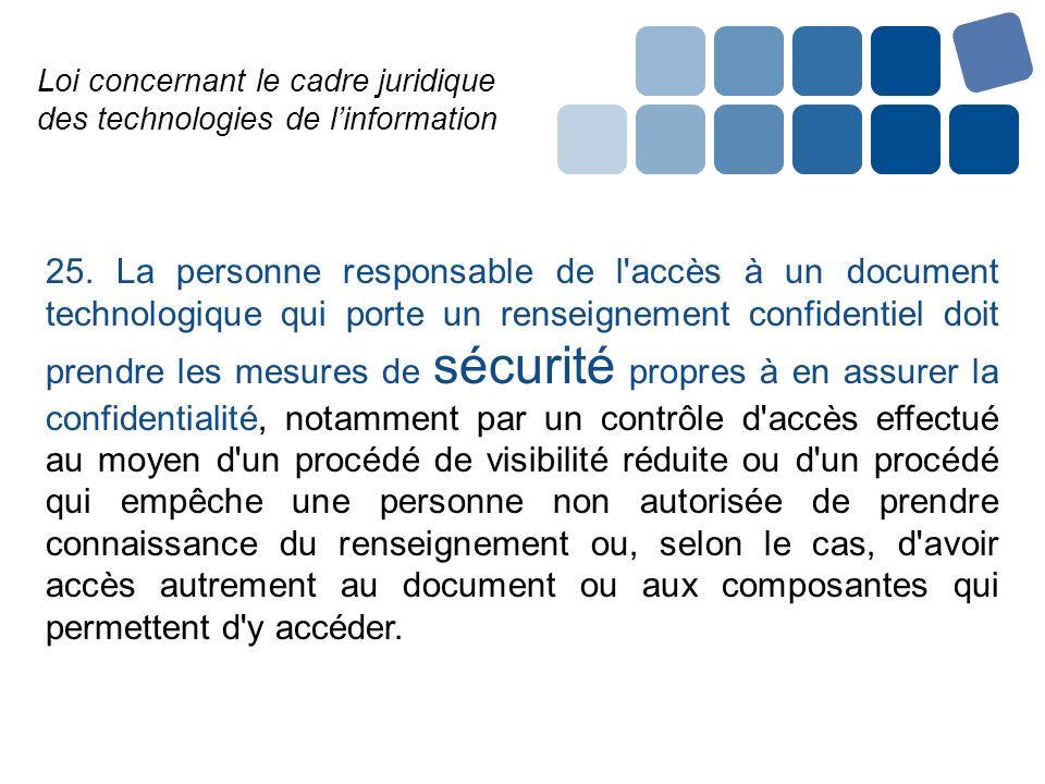 Loi concernant le cadre juridique des technologies de linformation 25. La personne responsable de l'accès à un document technologique qui porte un ren