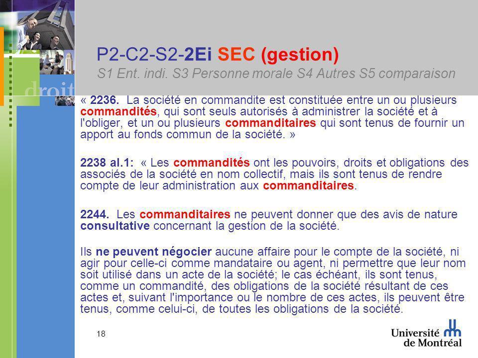 18 P2-C2-S2-2Ei SEC (gestion) S1 Ent.indi. S3 Personne morale S4 Autres S5 comparaison « 2236.