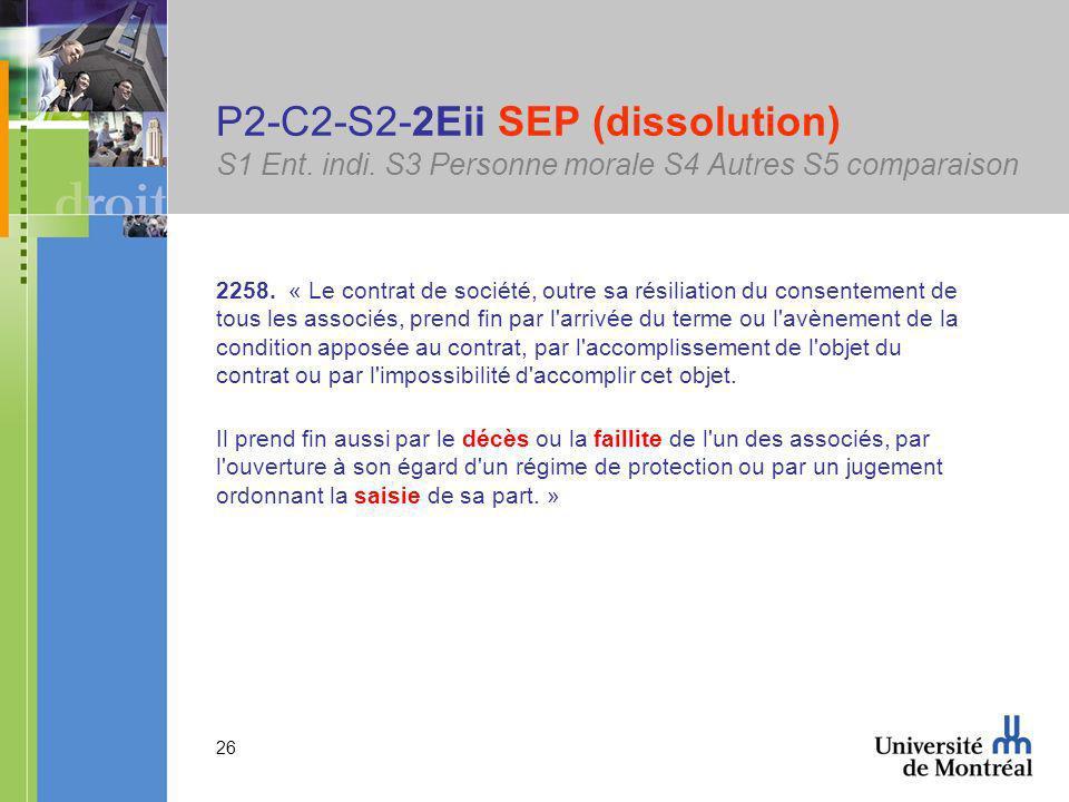 26 P2-C2-S2-2Eii SEP (dissolution) S1 Ent. indi. S3 Personne morale S4 Autres S5 comparaison 2258.