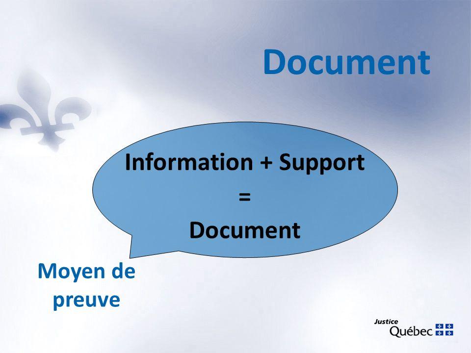 Information + Support = Document Moyen de preuve