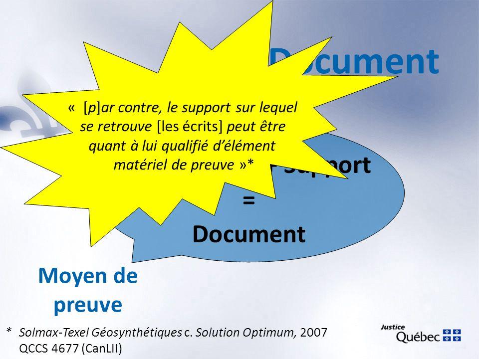 Document Information + Support = Document Moyen de preuve « [p]ar contre, le support sur lequel se retrouve [les écrits] peut être quant à lui qualifi