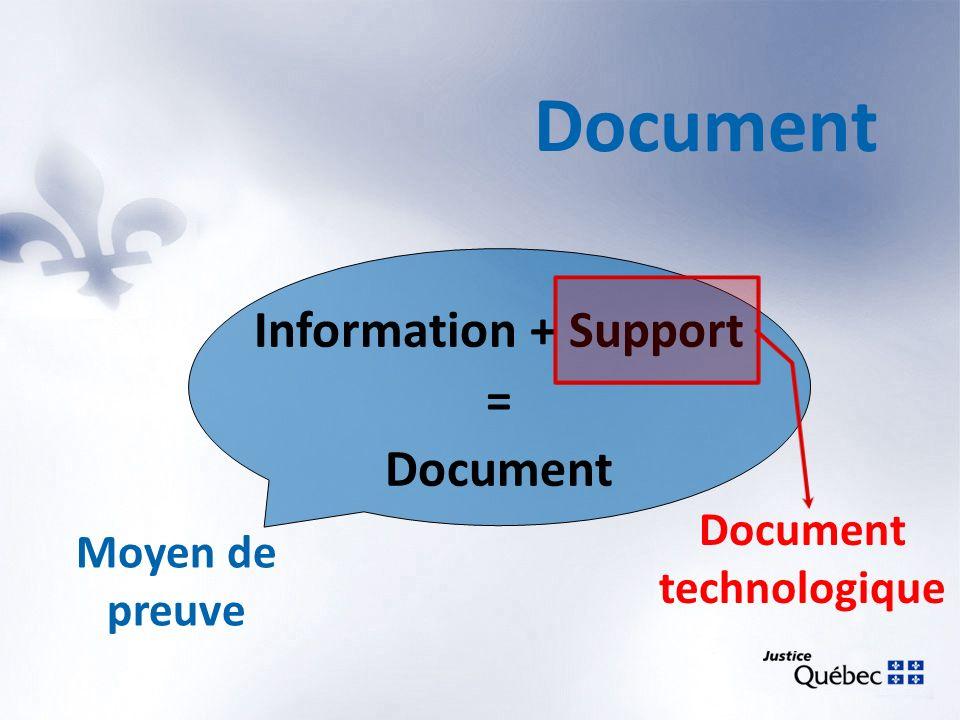 Document Information + Support = Document Moyen de preuve Document technologique