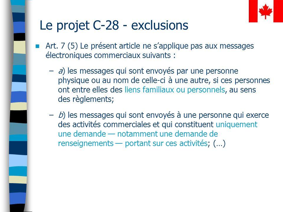Le projet C-28 - exclusions Art.
