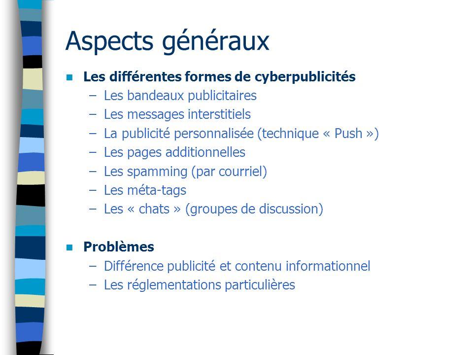 Le spamming Définition: –Répétition soutenue –Non sollicitation (caractère négatif) –À caractère publicitaire –Promotion de produits ou services illégaux.