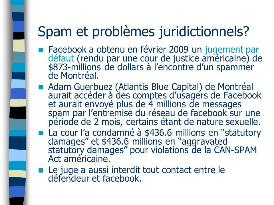 Spam et problèmes juridictionnels.