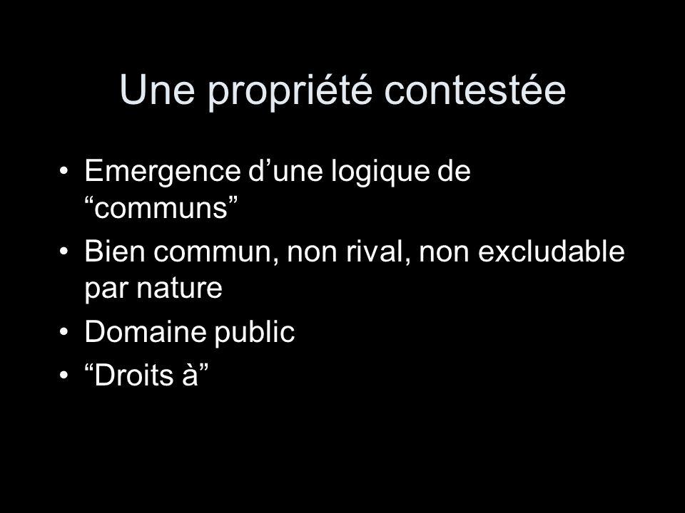 Une propriété contestée Emergence dune logique de communs Bien commun, non rival, non excludable par nature Domaine public Droits à
