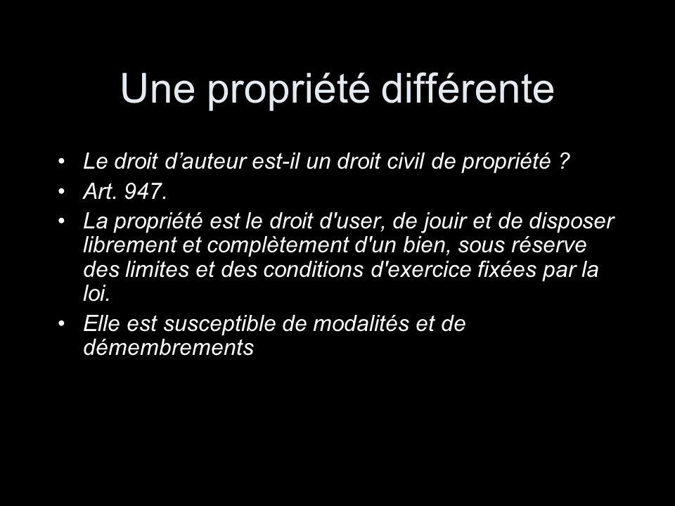 Une propriété différente Le droit dauteur est-il un droit civil de propriété ? Art. 947. La propriété est le droit d'user, de jouir et de disposer lib