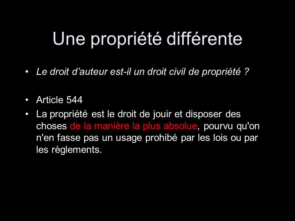 Une propriété différente Le droit dauteur est-il un droit civil de propriété ? Article 544 La propriété est le droit de jouir et disposer des choses d
