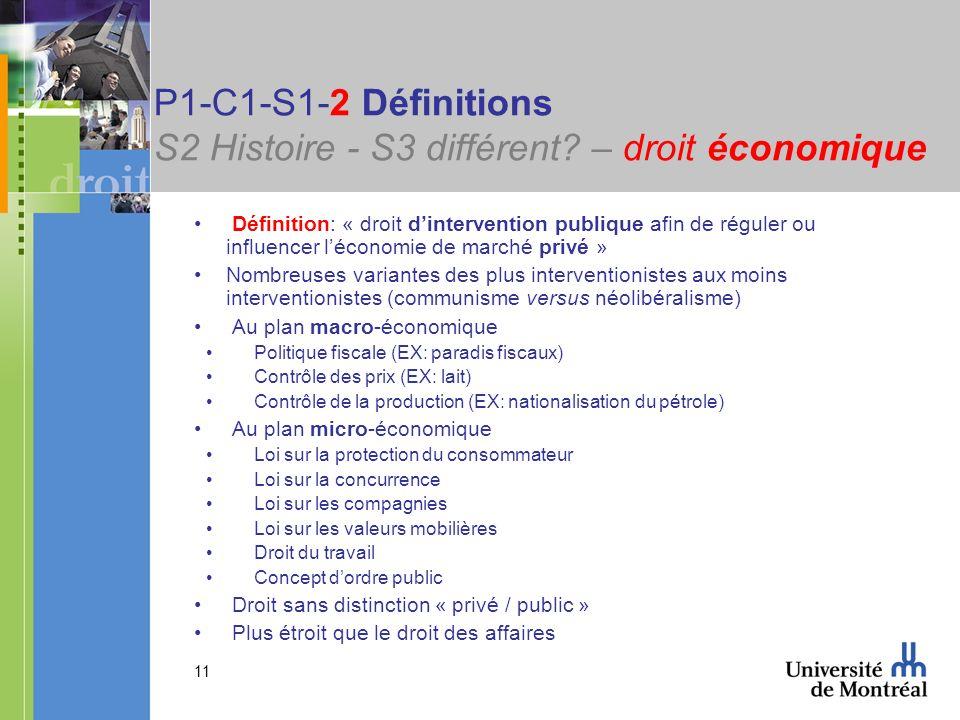 11 P1-C1-S1-2 Définitions S2 Histoire - S3 différent? – droit économique Définition: « droit dintervention publique afin de réguler ou influencer léco